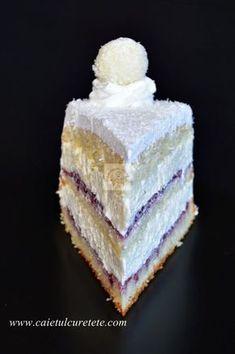 Raffaello cake with raspberries- Tort Raffaello cu zmeura tort raffello - Rafaelo Cake, Entremet Recipe, Romanian Desserts, Cake Recipes, Dessert Recipes, Delicious Deserts, Raspberry Cake, Types Of Cakes, Sweet Pastries