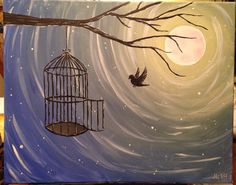 Acrylic painting on canvas of a bird flying towards a cage in a tree.
