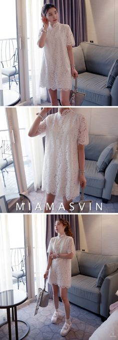 Looking gorgeous is easy when you have this luxurious lace dress. It features scalloped trims for extra spice, a high neckline, short sleeves, same colored lining for coverage, a back zipper closure, a boxy shift silhouette, and a mid-thigh length. Layer it with your pastel cardigan for extra warmth, then finish the look with a pair of platform shoes. -- #Miamasvin #Dresses #KoreanFashion #OOTD