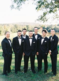 Black tie groom's party: http://www.stylemepretty.com/north-carolina-weddings/raleigh/2016/05/05/she-said-yes-to-the-dress-i-do-to-a-glamorous-fall-wedding/ | Photography: Graham Terhune - http://grahamterhune.com/