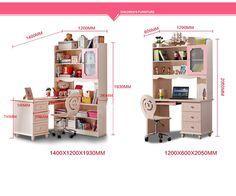 Варианты комплектации детского рабочего стола розового цвета