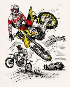 Offroad / MX Catalog cover illustration by Adi Gilbert / for Tucker Rocky. Featuring a drawing of motocross / super cross champion Justin Bogle Dirt Bike Tattoo, Motocross Tattoo, Motocross Logo, Motorcross Bike, Bike Tattoos, Motorcycle Art, Bike Art, Motorcycle Touring, Motorcycle Quotes