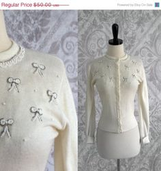 1950s Beaded Button Up Sweater/Cardigan by SassySisterVintage $40