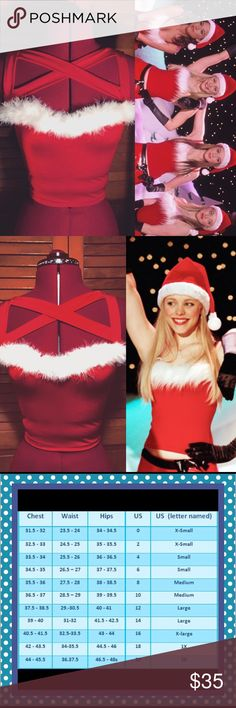 Mean girls Christmas version 90s baby doll top This top is the same style as my other 90s baby doll tops but it's a mean girl addition! It's inspired by the tops the plastics wear in the Christmas talent show! This top is super stretchy it features white fluff on the bust and harness straps that go across the chest bows by samantharose Tops Crop Tops