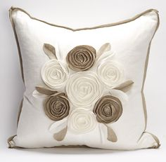 Available at Decorating Resource Studio -  Toss Cushions - Churchill Linen Roses Pillow / Ivory/Flax