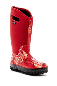 Bogs Classic Tall Forest Rain Boot red color