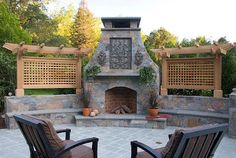 outdoor fireplace. Perfect for those late fall early winter nights.  And look!!  A built in stage for karaoke!! Outdoor Fireplace Plans, Outdoor Stone Fireplaces, Outside Fireplace, Outdoor Fireplace Designs, Backyard Fireplace, Fall Fireplace, Backyard Patio Designs, Pergola Designs, Pergola Patio