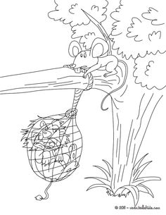 The Lion and the mouse coloring page.
