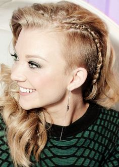 long hair, undercut with braid