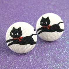 Cat Earrings  Kitty Fabric Covered Buttons on by MelissaAbram, $10.00