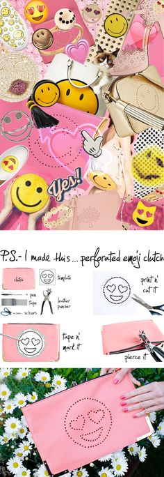 P.S.- I made this...Perforated Emoji Clutch #psimadethis #diy