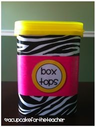 A place for everything and everything in its place.  Have your kids make a clever container for box tops or soda can tabs.  Displaying on your counter shows off their artwork and everyone knows where to put items.