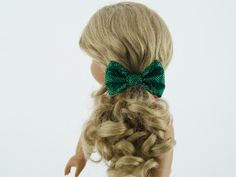 American Girl Doll  Hair Bow - Sparkly Green by MiniGiggleGear on Etsy - Accessories for Hair