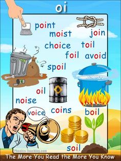 oi words Phonics Poster - FREE & PRINTABLE - Auditory Discrimination, Exploring Letter Sounds, Literacy Groups, Phonics Word Wall Poster or a Class Book Phonics For Kids, Phonics Reading, Teaching Phonics, Phonics Activities, Kids Learning Activities, English Activities, Phonics Chart, Phonics Flashcards, Phonics Blends