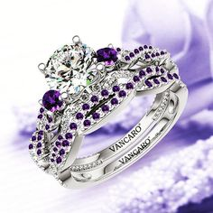 This is crazy over-the-top but in my next life as Princess of Genovia or something. Purple Band, Purple Rings, Purple Jewelry, Amethyst Jewelry, Amethyst Wedding Rings, Diamond Wedding Bands, Purple Wedding Rings, Engagement Ring Shapes, Engagement Wedding Ring Sets