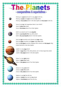 The Planets - comparative & superlative - English ESL Worksheets for distance learning and physical classrooms Solar System Facts, Solar System Worksheets, Science Worksheets, Kindergarten Worksheets, Science Lessons, Worksheets For Kids, Solar System Activities, Solar System Model, Printable Worksheets