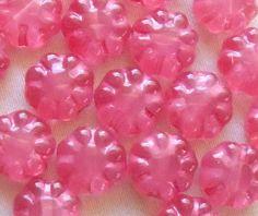 Lot of 20 Czech pressed glass Pink Opalite flower beads, 9mm. C2820