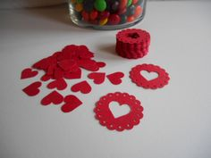 50 Scalloped Cutout Hearts Die Cuts for by MyThreeSonsByKristin, $2.00