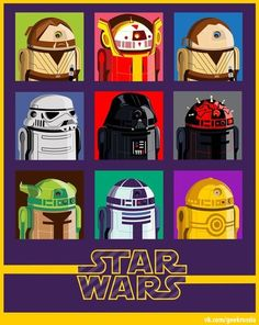 Star Wars characters ad R2 units.