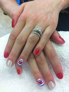 Red, white, blue and sparkle manicure