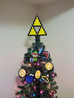 Zelda A Link To The Past Super Nintendo Perler Bead Christmas Tree Topper Set (8 piece)  This so reminds me of my brother