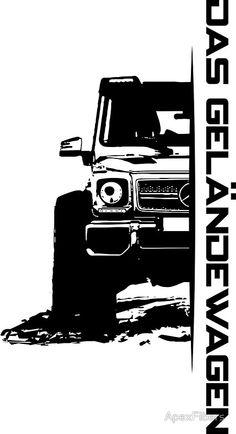 'Das Geländewagen Sticker by ApexFibers Mercedes G, Hot Wheels Storage, Black And White Stickers, G63 Amg, Pop Stickers, Street Racing Cars, Marca Personal, Islamic Art Calligraphy, Vintage Racing