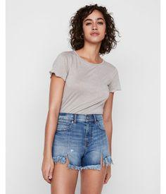 cf9e5fe491 High Waisted Distressed Cutoff Original Denim Shorts Blue Women s 18 Denim  Cutoff Shorts