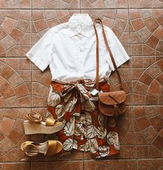 Found at Common Sort - Holt Renfrew button down, DVF skirt, Joe Fresh sandals and UO bag