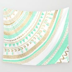 Mint + Gold Tribal Wall Tapestry