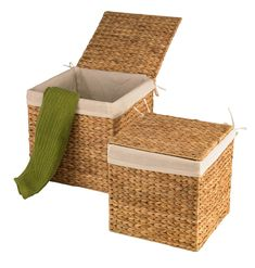 Beechwood 2 Piece Basket Set Bay Isle Home Colour: Beige Linen Baskets, Fabric Storage Baskets, Fabric Boxes, Linen Storage, Rattan Basket, Decorative Storage, Diy Storage, Storage Boxes, Dekoration
