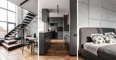 Polish architecture firm Metaforma have designed an apartment in Poznan, that features a palette of greys and wood to create a masculine appearance.