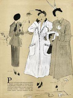 Bernard Blossac 1947 Patou Lecomte Lanvin Coats Fashion Illustration