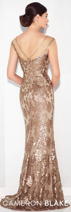 Formal Evening Gowns by Mon Cheri - Spring 2017 - Style No. 117619 - bronze sequin evening dress with illusion back and cap sleeves