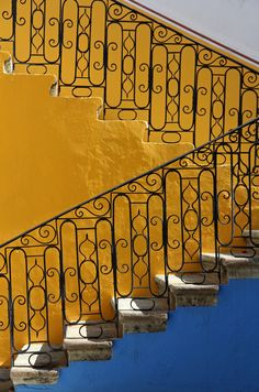 Mexican style - Colored staircase of an hacienda in downtown Oaxaca, Mexico.