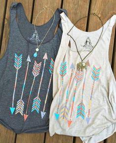 Ms. fashion casual retro print arrows color cotton vest sleeveless T-shirt
