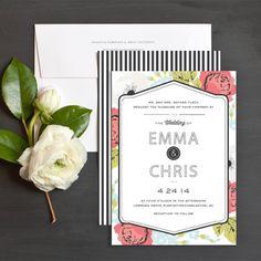 Blossoming Frame Wedding Invitations   Elli