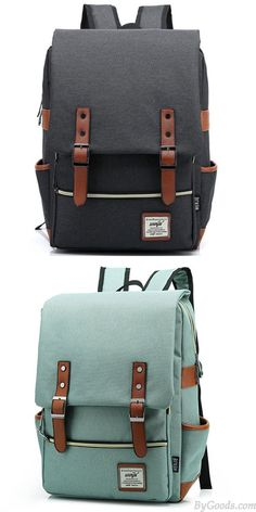 Vintage Travel Backpack Leisure Canvas With Leather Backpack School Bag  only  33.99 6e574eede389e
