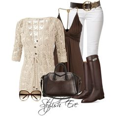 LOVE this whole outfit! Not sure the white jeans would look good on me, though. Crocheted Sweater is beautiful.