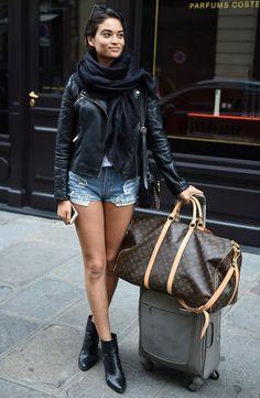 shanina shaik denim short leather jacket street style