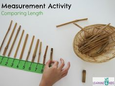 Measurement activity using a number line - comparing lengths Teaching Measurement, Measurement Activities, Teaching Activities, Classroom Activities, Teaching Math, Numeracy Activities, Activity Centers, Math Centers, Activity Board