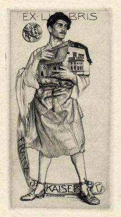 Bookplate by Alfred Cossmann for Franz J Kaiser, ??