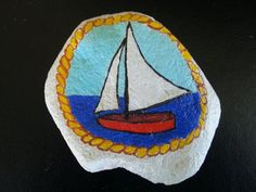 Painted Rock, Nautical Boat Design, Acrylic, One Only, Australian Artist