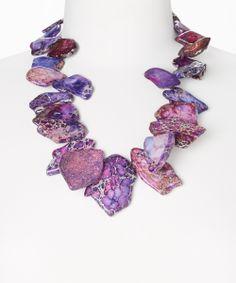 Purple Sediment Jasper Slab Beaded Necklace