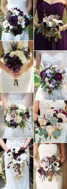 2019 Brides Favorite Purple Wedding Colors---purple wedding bouquets, garden weddings, spring or fall wedding flowers Plum Wedding Flowers, Purple Wedding Bouquets, Diy Wedding Bouquet, Diy Bouquet, Fall Wedding Colors, Wedding Color Schemes, Diy Flowers, Wedding Bridesmaids, Plum Bridesmaid Dresses