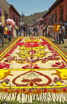 Visitors admire the intricate floral patterns that adorn the alfombras (street carpets) in the town of Antigua, Guatemala, Central America.