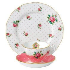 Royal Albert New Country Roses Cheeky Pink Vintage 3-Piece Set (Teacup, Saucer & Plate)