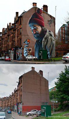 Mural fotorrealístico em Glasgow, Escócia