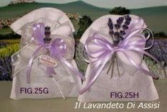 Bomboniere lavanda sacchetto in lino con orlo a giorno confetti e fiori di lavanda