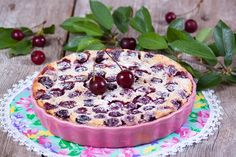 Clafoutis is a rustic baked French dessert of berries or cherries.My clafoutis is a winner: Not too sweet, fragrant and totally gluten-free-friendly Desserts Français, Cherry Desserts, Dessert Recipes, Desserts To Make, Summer Desserts, Romanian Desserts, Romanian Food, Pie Recipes, Cooking Recipes