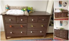 DIY Cherry Wood Dresser With Changing Table Top And Drawer Painted With Brown Color Ideas, Changing Table Dresser Furniture Best Changing Table, Changing Table Dresser, Dresser Furniture, Home Furniture, Furniture Design, Cherry Wood Dresser, Easy Diy Projects, Drawers, Ikea